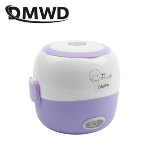 Image 3 - DMWD MINI kuchenka do ryżu ogrzewanie termiczne elektryczne pudełko na Lunch 2 warstwy przenośne jedzenie parowiec gotowanie pojemnik posiłek Lunchbox cieplej