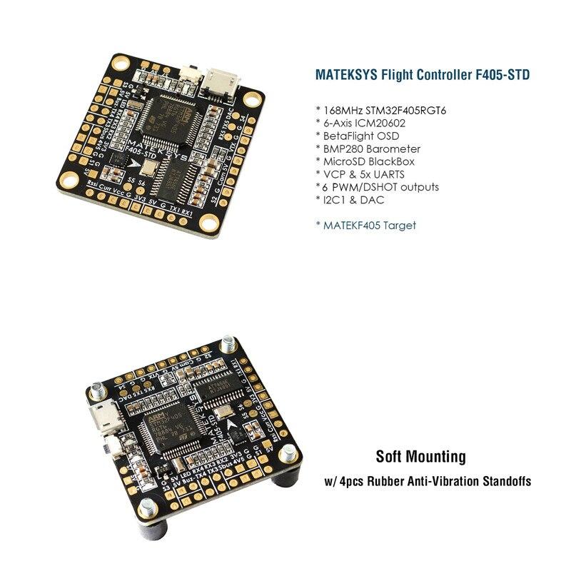 Matek F405 STD BetaFlight STM32F405 Flight Controller Built in OSD Inverter for RC Eachine X220 250