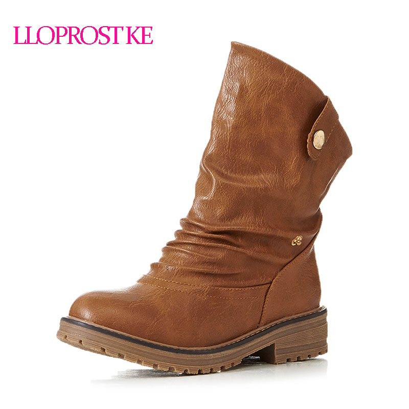 Lloprost Ke Free Shipping Ankle Boots Women Casual Shoes Botas Round Toe Med Heel High Quality Mujer Western Boots Female ZZ034 lloprost ke faux fur ankle boots women casual shoes botas slip on platform low heel mujer winter autumn boots big size zz041