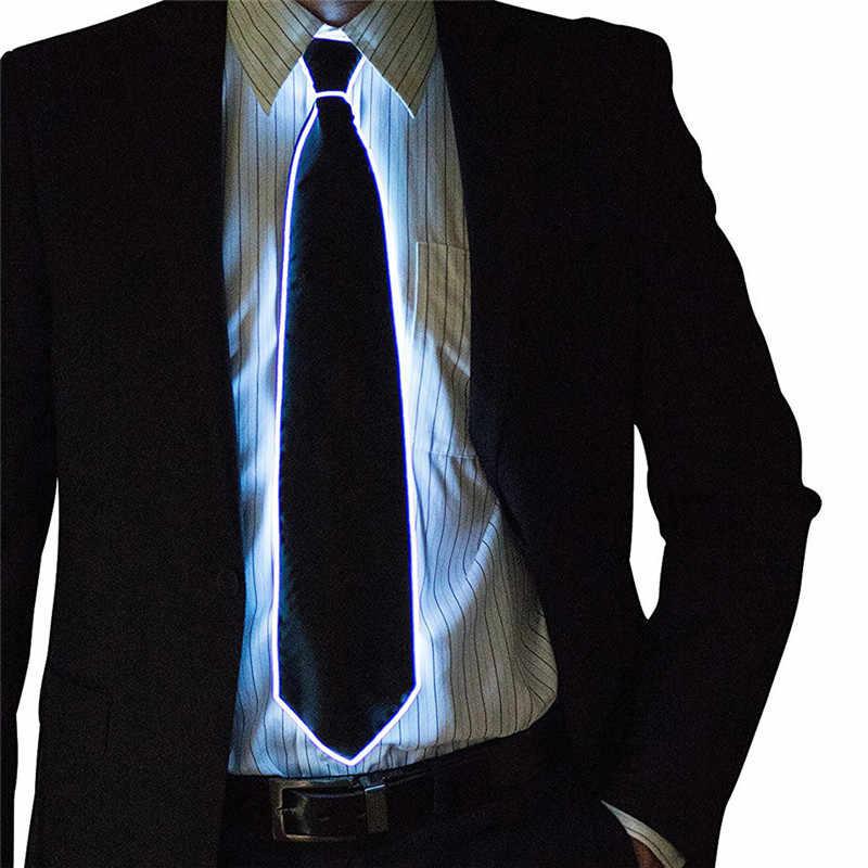 الرجال متوهجة التعادل EL سلك النيون LED مضيئة حفلة هالوين عيد الميلاد مصباح مضيء حتى الديكور DJ بار نادي المرحلة الدعامة الملابس