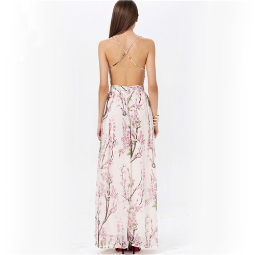 96ee569e0d7b SHD021 Bohemia Apricot Spaghetti Strap Backless Floral Printed Runway  inspired Vintage Beyonce Semi Formal Fancy Maxi Dress-in Dresses from  Women's Clothing ...