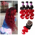 Ombre Brazilian Hair With Closure Wet And Wavy Ombre Red Brazilian Hair Weave Bundles With Closure Ombre Human Hair Burgundy