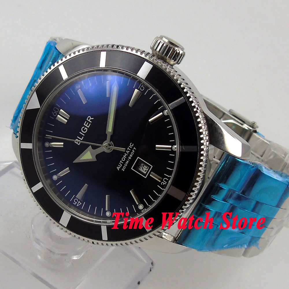 Bliger 46mm black dial date luminous Stainless steel band deployant clasp Automatic men's watch BL97 цена и фото
