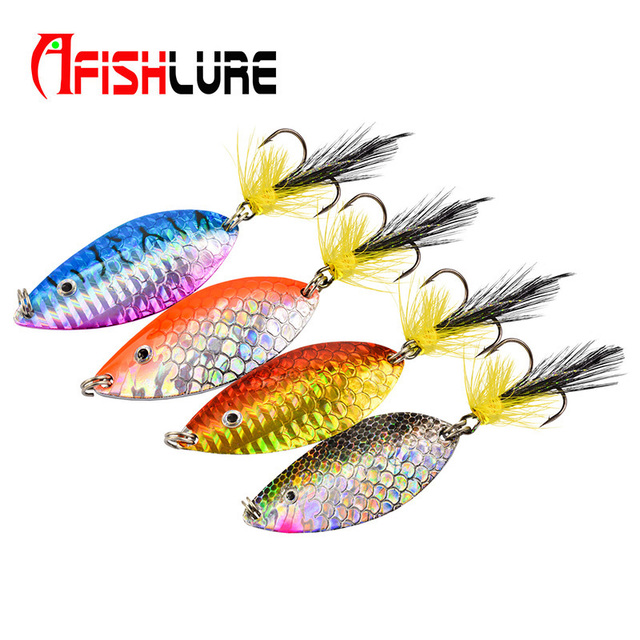 Free shipping hot sale New Arrival10g/20g metal spoon lure with feather belt treble hooks colorsful with 3D eyes