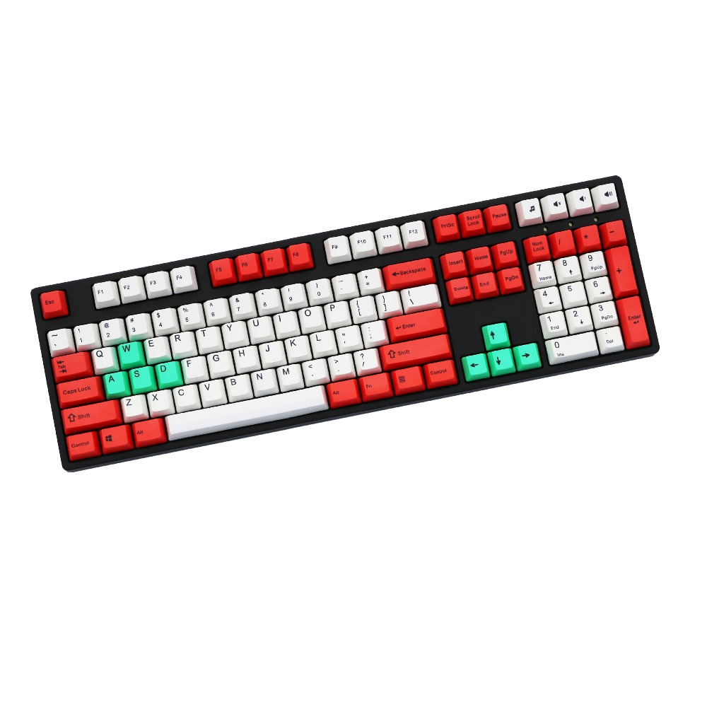 Colorful Mechanical keyboard keycap OEM profile PBT Dye-Sublimated 87/108 key Red/White MX switch ANSI layout Only sell keycaps gray and light grey mix dsa pbt 156 dye sublimated font print cherry mx switch mechanical keyboard keycap only sell keycaps