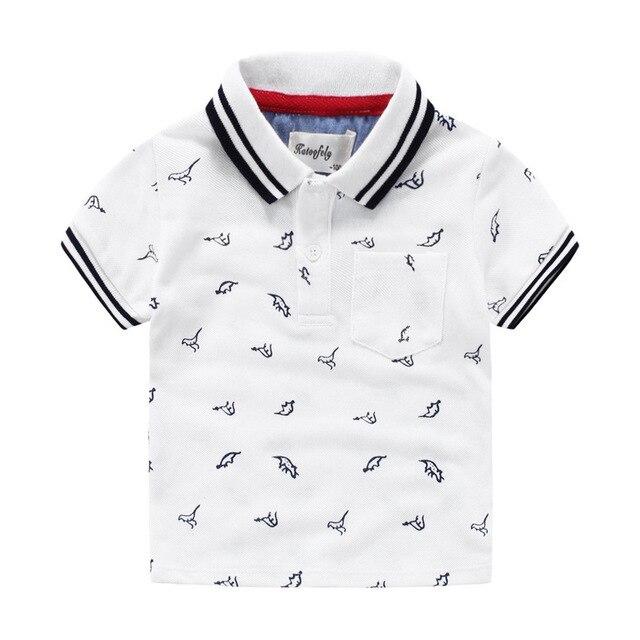 Мальчик из чистого хлопка с коротким рукавом Футболки мультфильм POLO рубашки детские летние хлопок впитывает пот пальто небольшой динозавр