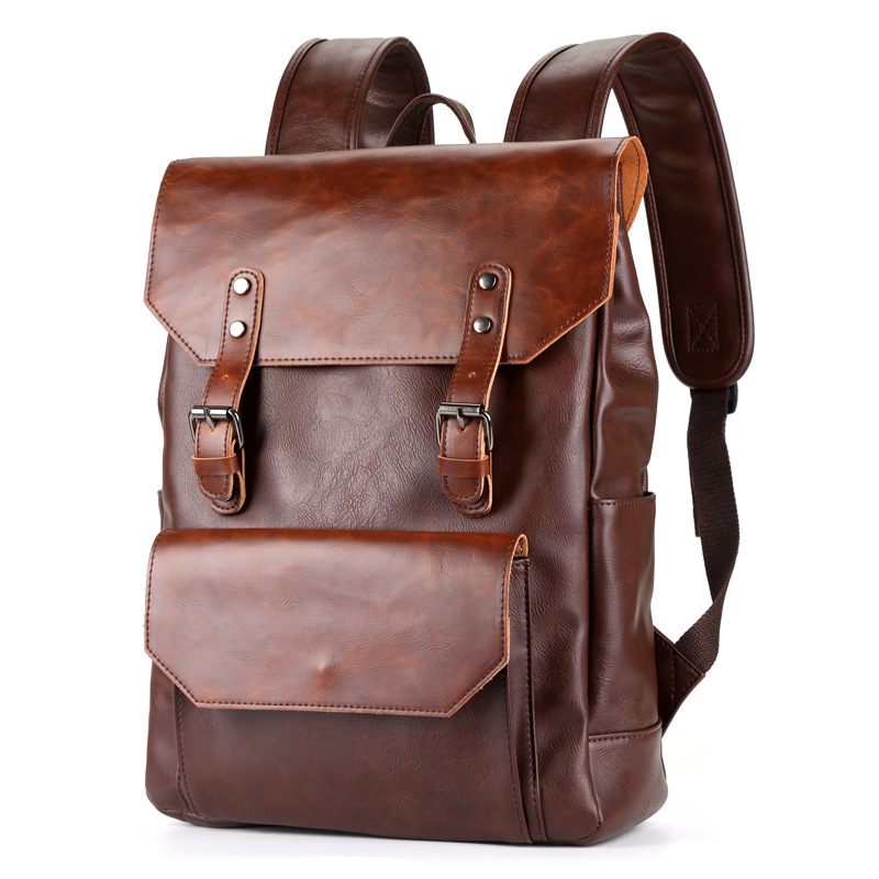 Vintage Men Backpack PU Leather Retro Backpacks Man Waterproof Fashion Travel Bag Casual Mochila Male Quality Business Backpack