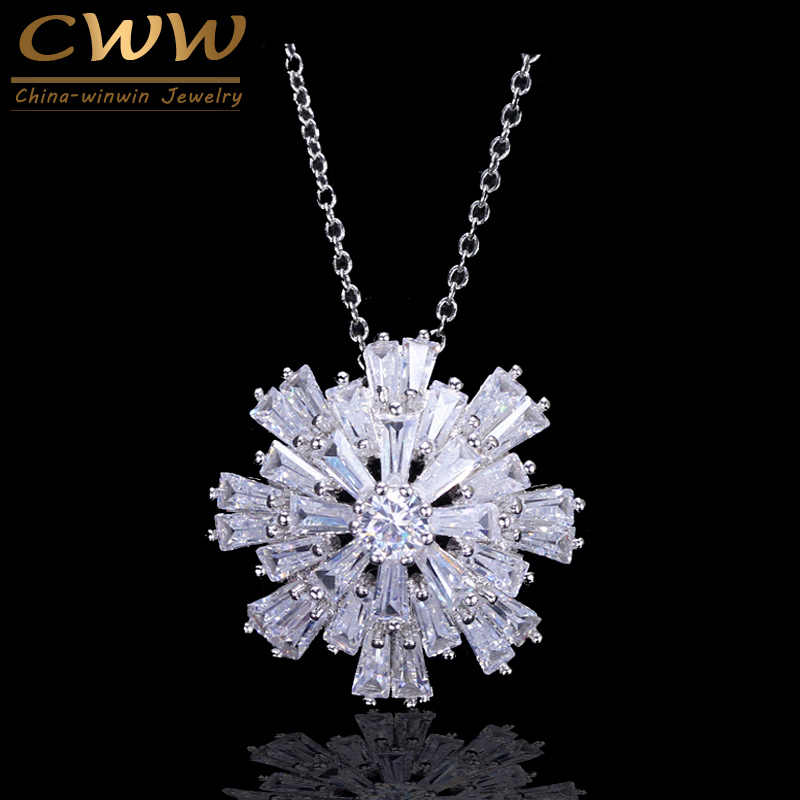 CWWZircons Silver And Rose Gold Color Bar Cubic Zirconia Setting Big Snow Flower Necklaces Pendants Jewelry For Women CP021