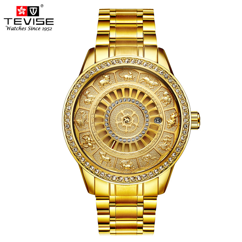 TEVISE Men Gold Automatic Self-Wind Mechanical Watches Business Luxury Stainless Steel 12 Chinese Zodiac Wrsitwatch Montre T808B stainless steel chinese zodiac keychain snake