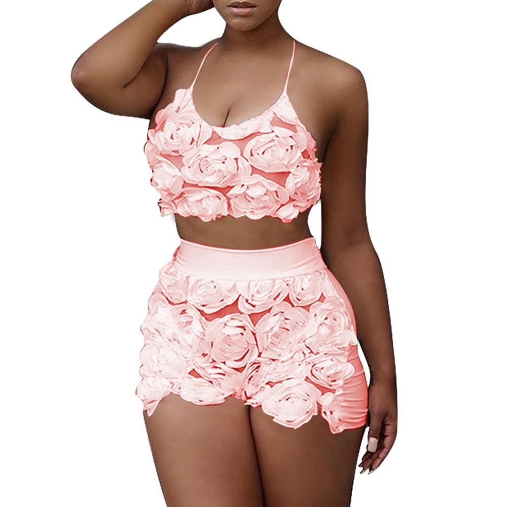 Summer Women Halter Crop Top High Waist Shorts 2 Pieces Set Flowers Mesh Night Club Casual Outfits H9