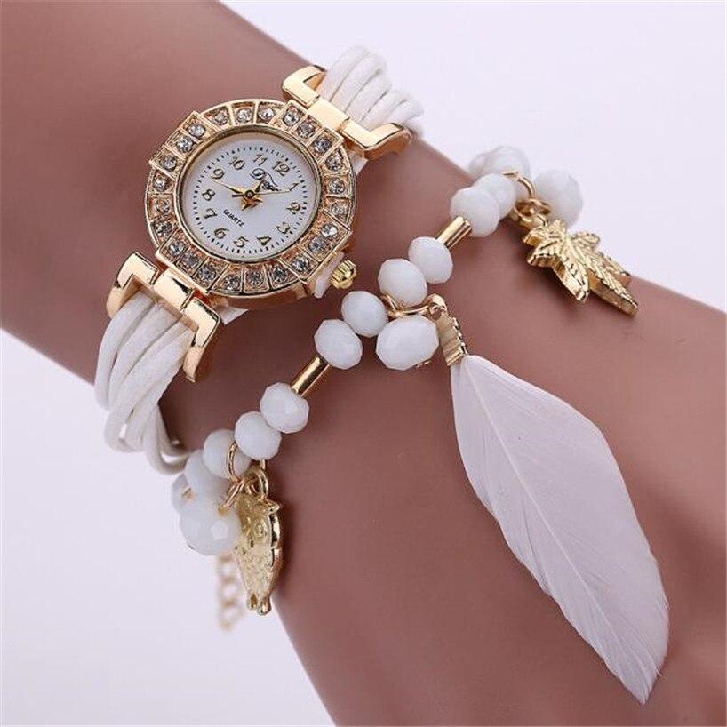Fashion Women's Watch Feather Weave Wrap Around Bracelet ...
