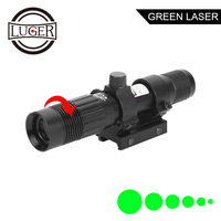 LUGER Tactical 5mW Green Laser Sight Focus Adjustable Green Laser For Hunting Optics Riflescope Air Gun With 20mm Rail Mount