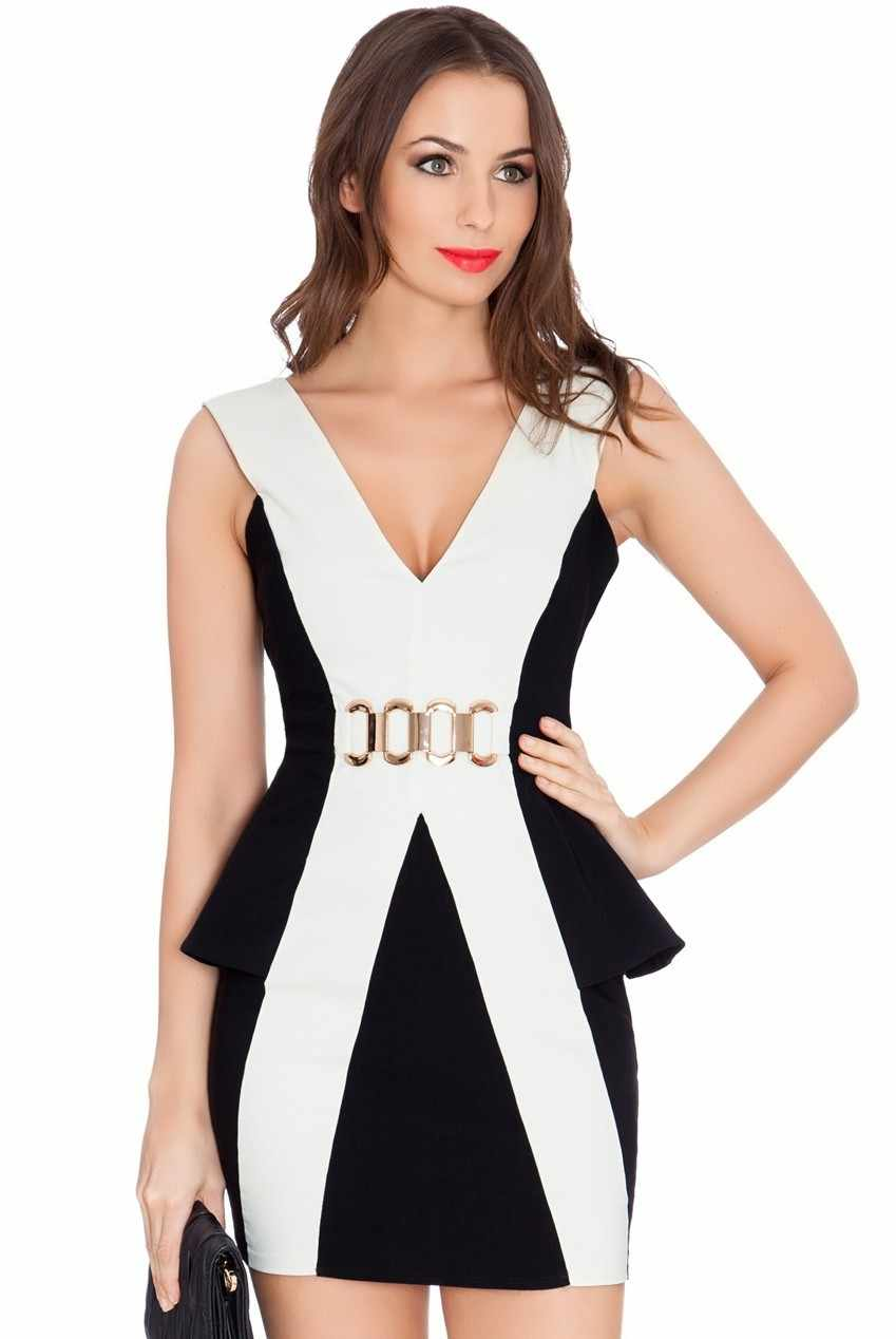 Sexy dress nero bianco patchwork peplum mini breve bodycon dress vestidos para festa elegante fasciatura donne casuali dress c1537