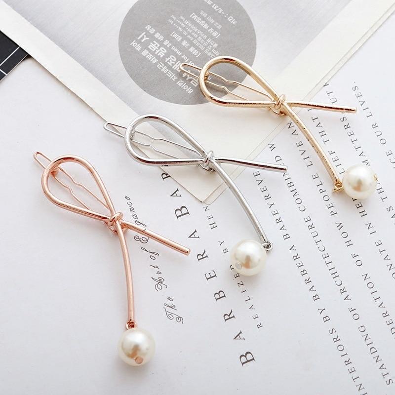 Korean Girls Women Hair Accessories Pearl Hairpins Metal Bow Knot Barrettes   Headwear   Hairgrips Simple Lady Hair Holder Hair Clip