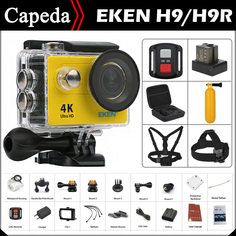 """Оригинальный EKEN H9/h9r Ultra HD 4 К/25fps дистанционного Wi-Fi 2.0 """"ЖК-дисплей водонепроницаемый шлем CAM под водой спорт действий камеры"""