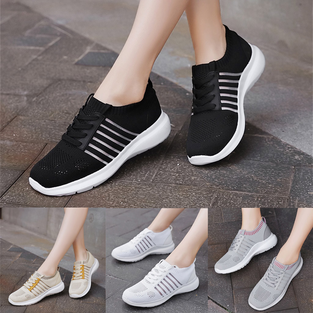 Summer Ladies shoes Fashion Lightweight Breathable Sneakers Hollow Mesh Sneakers Plus Size Walking Flats Loafers sapato feminino(China)
