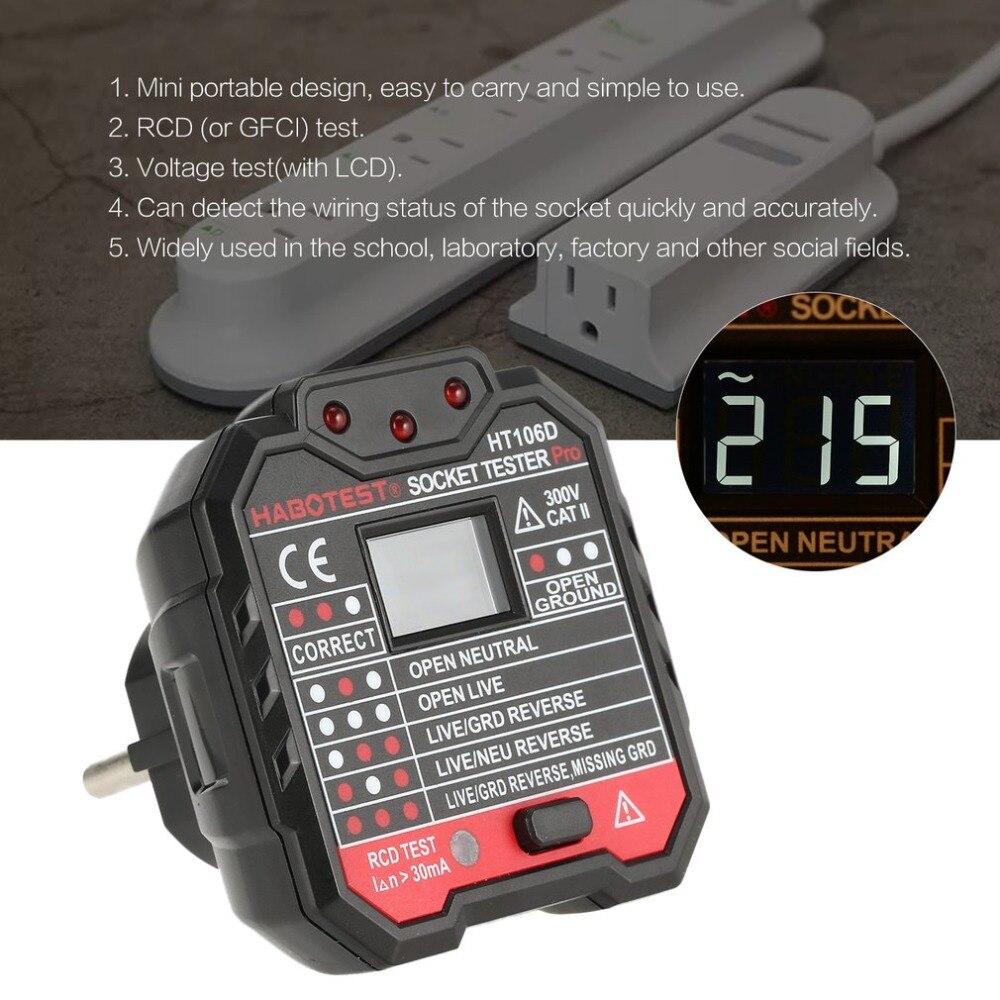 HT106D Socket Testers Voltage Test Socket Detector EU Plug Ground Zero Line Plug Polarity Phase Check