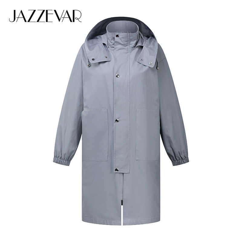 JAZZEVAR2019 Neue ankunft herbst graben mantel frauen Lose kleidung oberbekleidung qualität mit kapuze mode frauen windjacken 9007