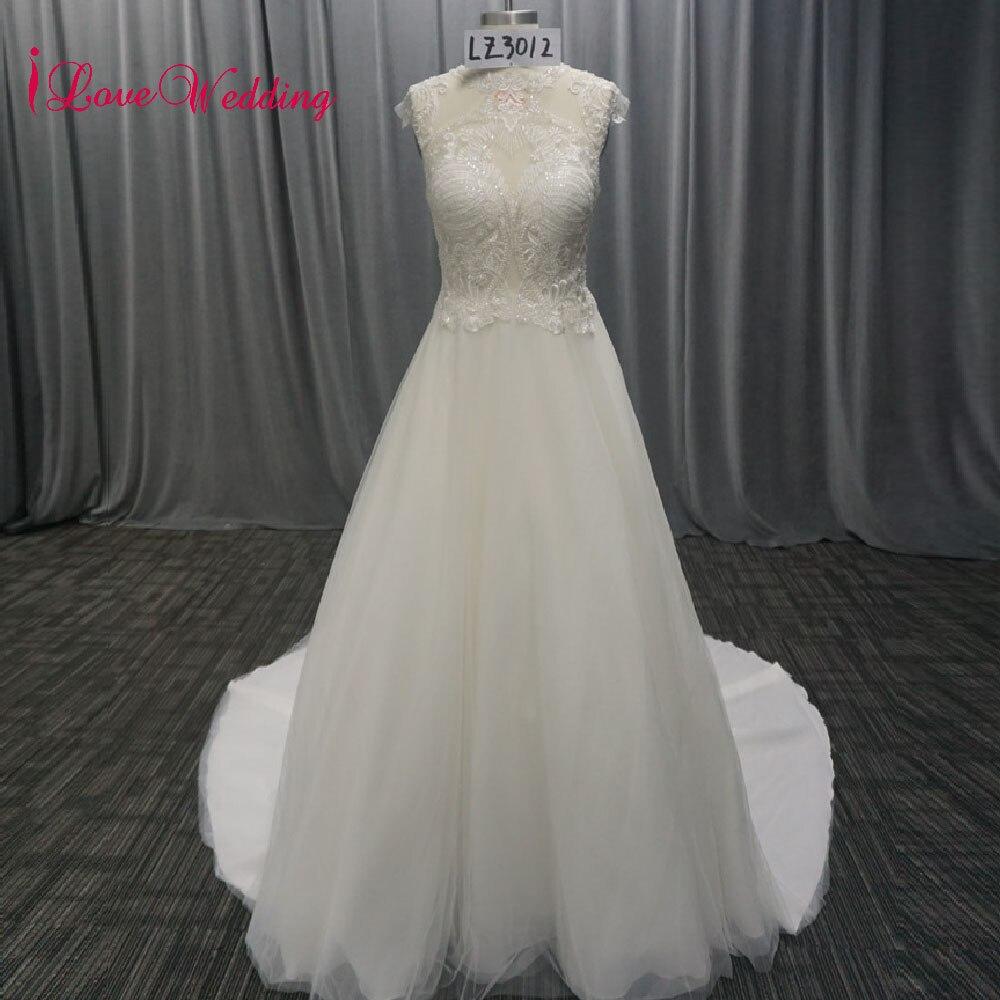 iLoveWedding Vestido De Noiva O Neck Wedding Dresses Real Photo A line Sexy Bohemia Beach Lace Tulle Bridal Gown Drop Ship 2018