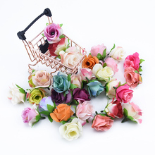 10pcs 4CM scrapbooking roses flower wall wedding bridal accessories clearance artificial flowers for home Christmas garland