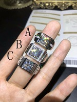 moissanite,2 carats.Men's Ring, Custom Number, 925 Sterling silver, Certificate of Presentation