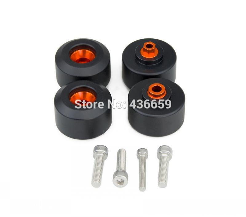 ФОТО New Motorcycle Front & Rear Fork Wheel Slider Crash Pads For KTM 125/200/390 Duke RC125 RC200 RC390