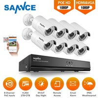SANNCE HD 8CH 1080 P HDMI POE NVR комплект камер видеонаблюдения Системы 2MP открытый IP66 IP Камера P2P для охранного видеонаблюдения Системы