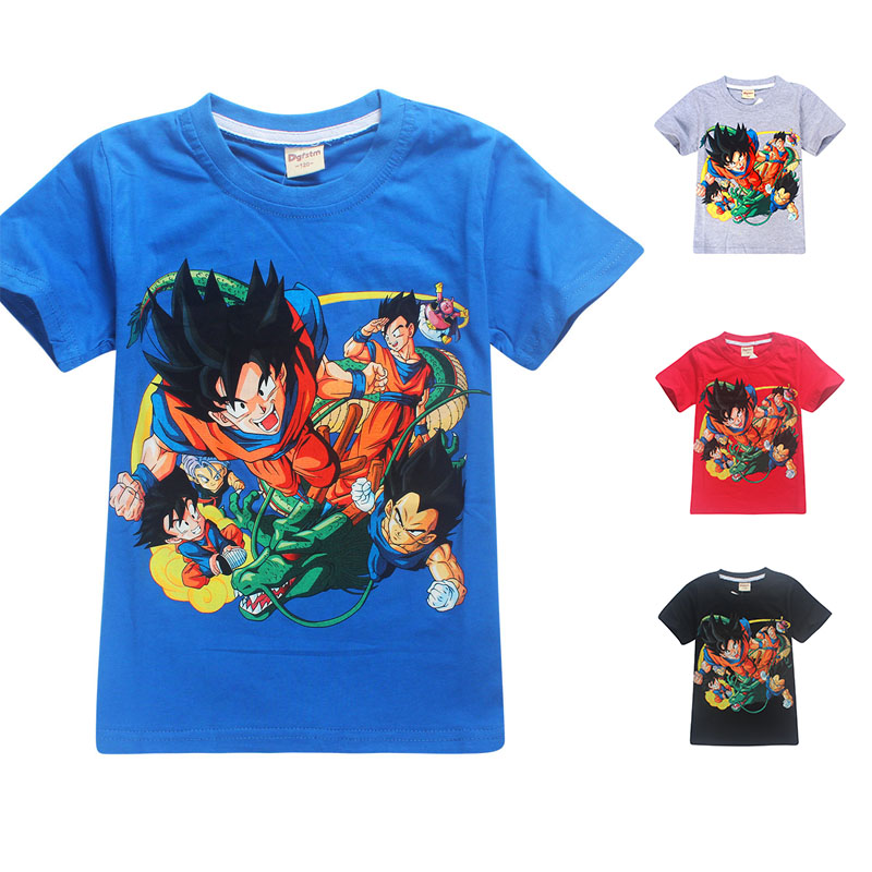 New Summer Boys Goku T-shirts 100% Cotton Cartoon Dragon Ball 3D Shirt Tees For Children Short Sleeve Clothes Anime Baby Tops