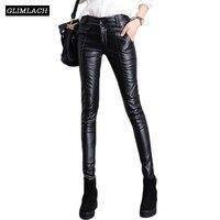Новые черные из натуральной кожи овчины брюки Для женщин штаны из натуральной кожи Леди Уличная Высокая Талия теплый флис тонкий карандаш б
