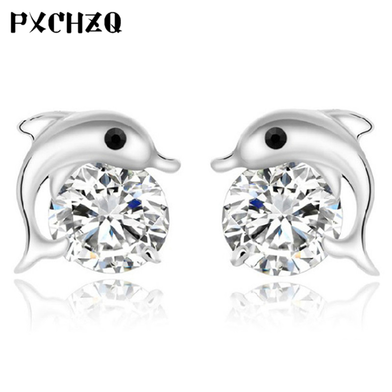 Fashion luxury crystal earrings dolphin sound female silver color jewelry cute beautiful earrings beautiful gifts