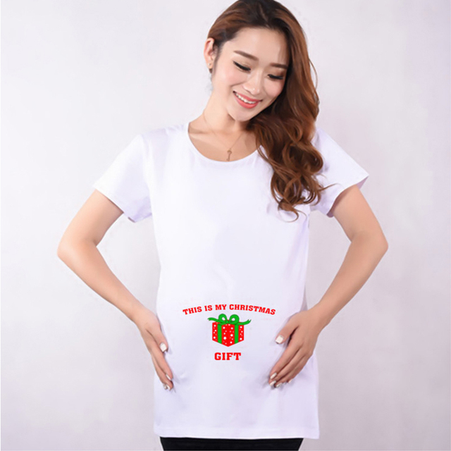 Cotton Funny Maternity Shirts Red Premama T-shirt Pregnant Women Tops Tees Clothes Premama Wear Clothing Pregnancy T Shirt