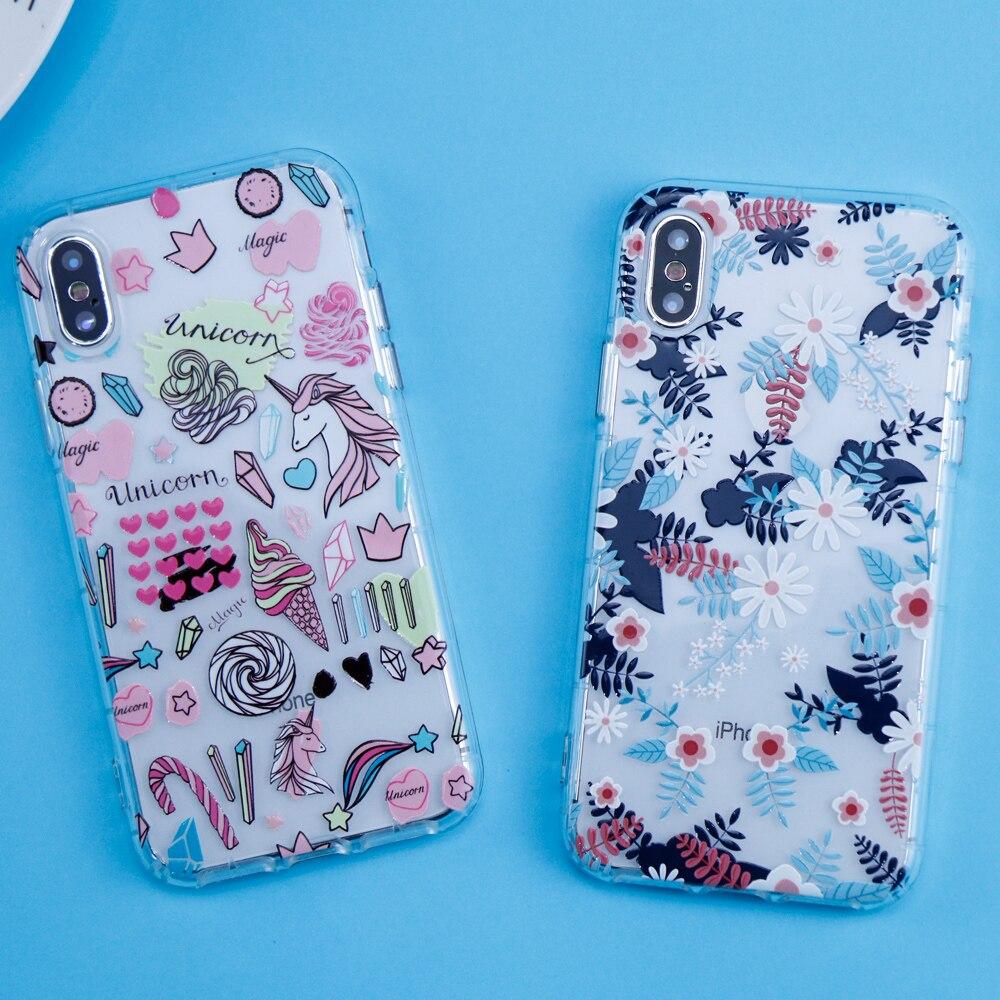 Cute Cartoon Unicorn Phone Case For iPhone X Case For iPhone 7 6 6S 8 Case Flower Floral Soft