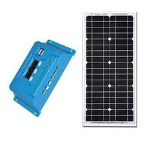 TUVSolar Kit Solar Panel 12v 20w Chargeur Solaire PWM LCD Solar Charge Controller 12v/24v 10A Portable Home System Marine