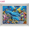 NKF 14CT 11CT Counted And Stamped Dolphins In The Ocean Cross Stitch Kits For Home Decoration