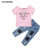 2018 Summer Kids Baby Girl Sister T Shirt Tops Mesh Jeans Denim Pants Outfits Set Clothes