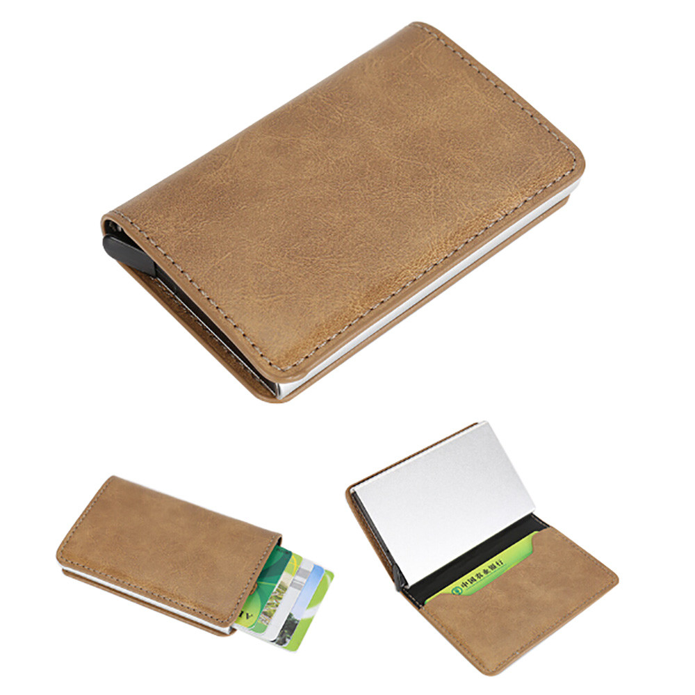 Fashion credit card holder Men Women Alloy Leather ID Credit Card Protector Holder Purse Wallet excellent elite spanker military vertical id card credit card tactical holder two in one with adjustable