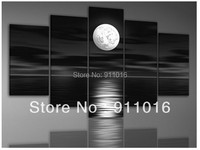 Ręcznie malowane Ściany Sztuki Morze Księżyc Noc Krajobraz Home Decor Czarny Obraz Olejny Na Płótnie 5 sztuk/zestaw Zdjęć Dla Salon Craft