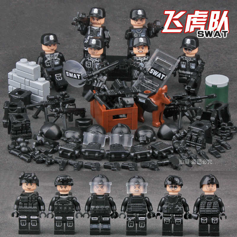 Building Blocks Kids Toys SWAT POLICE special forces military blocks villain toy 6-12 ages gift Compatible Legoingly Toys