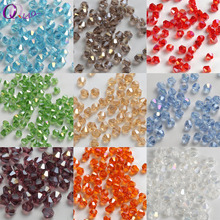 100pcs 4mm Multicolor jewelry crystal beads bicone beads plated AB glass beads bracelet necklace Jewelry Making Accessories DIY
