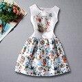 Meninas vestido de verão 2016 do teste padrão do gato imprime uma linha vestido adolescente menina roupa dos miúdos crianças vestidos de impressão roupas de bebê branco