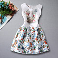summer girls dress 2016 cat pattern prints a line dress teenage girl clothes kids children print dresses white baby clothing