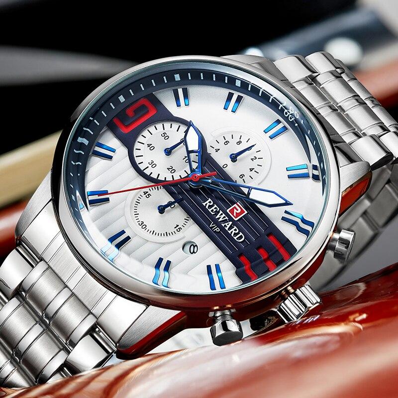 REWARD Luxury Silver Stainless Steel Watch Men's Sport Watches Brand Chronograph Quartz Waterproof Wristwatch Relogio Masculino