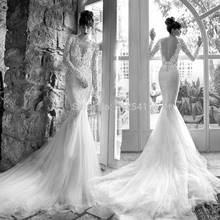 Long Sleeves V Neck Trumpet Mermaid Lace Wedding Dresses 2015 Backless Applique Beads Bridal Gown yk1A536