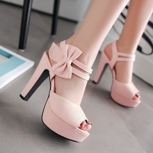 2016 Summer Sweet Women Sandals Female Bowknot Thick with High Heels Fish Mouth Shoes Paltform Footwear Small Big Size 31-43