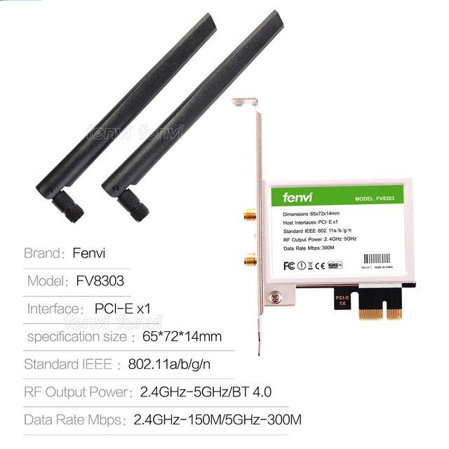 600Mbps Dual band Wireless Wifi Adapter Desktop WLan WiFi Bluetooth BT 4.0 802.11 a/b/g/n PCI-Express 1X/8X/16X Card