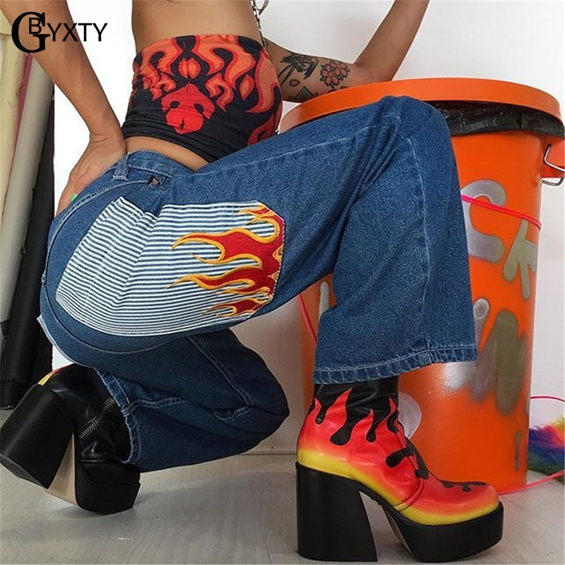 GBYXTY Casual High Waist Straight Jeans Capris Women Streetwear Flame Print Slim Denim Pants Trousers Pantalones Mujer ZA1451