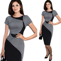Black Colours Blocks Dresses Women Office Workwear Shiffting Dress Vetement Femme Plus Size Bodycon Ropa Mujer
