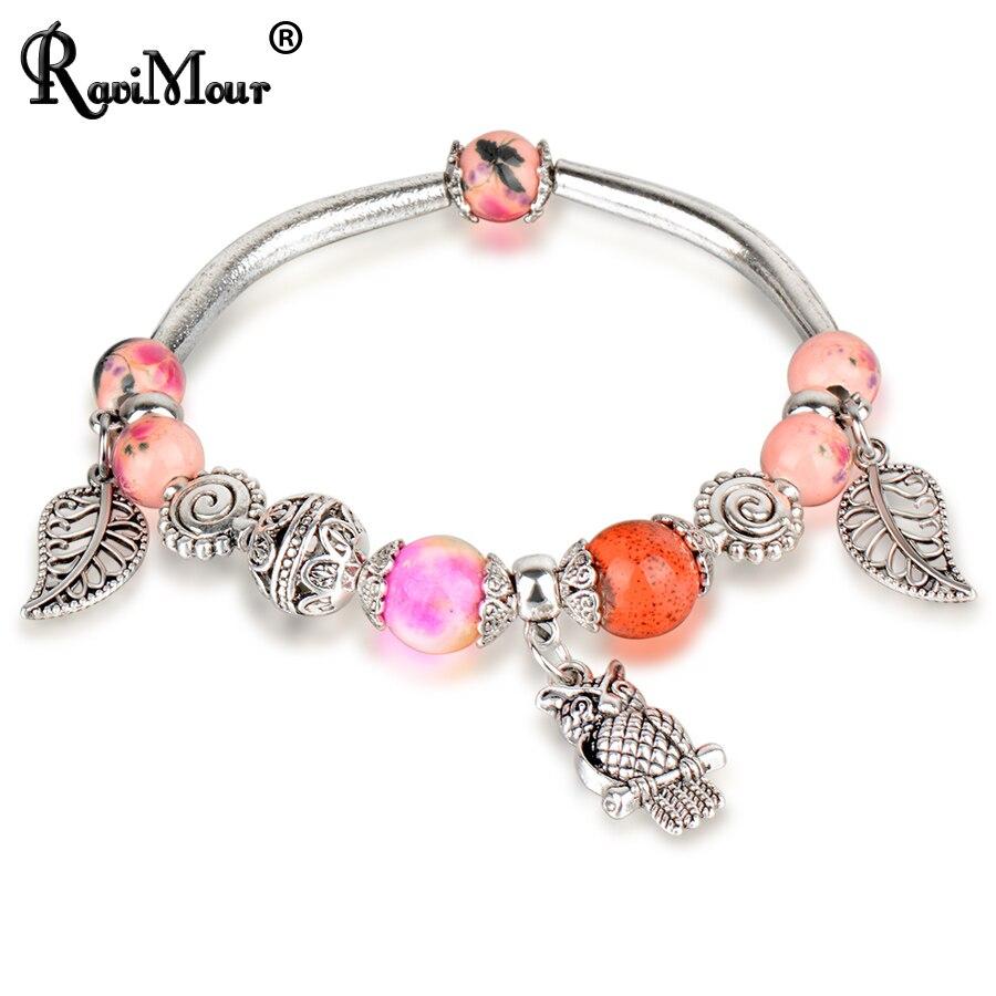 RAVIMOUR Charms Bracelets for Women Vintage Jewelry Crystal Bead Owl Leaf Bracelets & Bangles Pulseira Feminina 2017 New