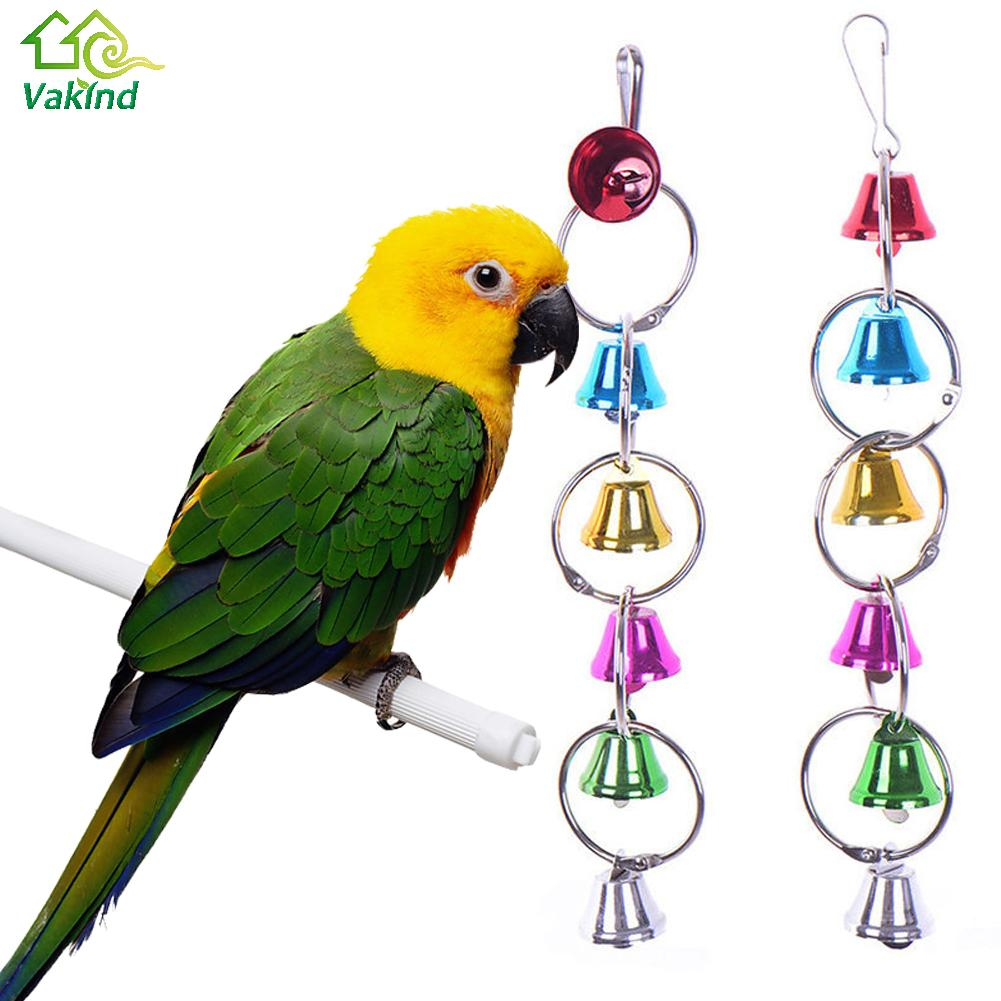 Parakeet Toys And Accessories : Parrot bird toys metal ring bell hanging cage for