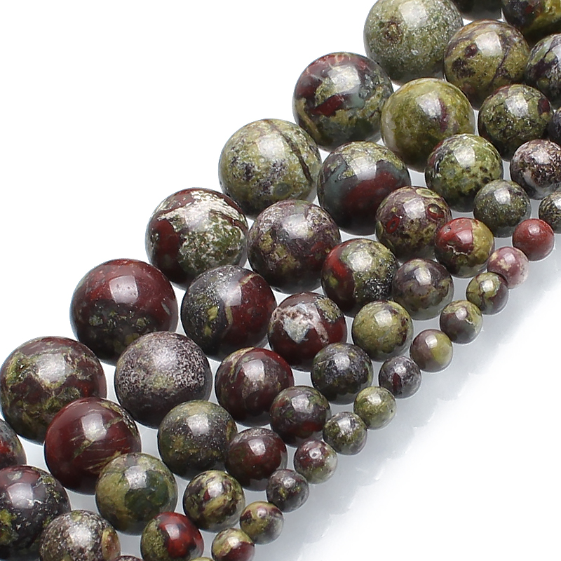 Natural Dragon Bloodstone Jasper Stone Round Beads For Jewelry Making Bracelet 15inches 4/6/8/10/12mm Pick Size